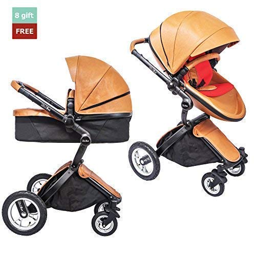 (KID1st elegant all-in-1 high landscape All-Terrain Egg Shell infant Baby Stroller Travel System toddler pushchair  baby pram with Carriage Bassinet Combo for HOT MOM (Brown) )