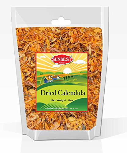 Sunbest Natural Calendula Flowers, Calendula Herbal Leaves (Whole) in Resealable Bag, Premium Quality, Gluten Free - Non GMO - Vegan - Kosher (8 Ounce)