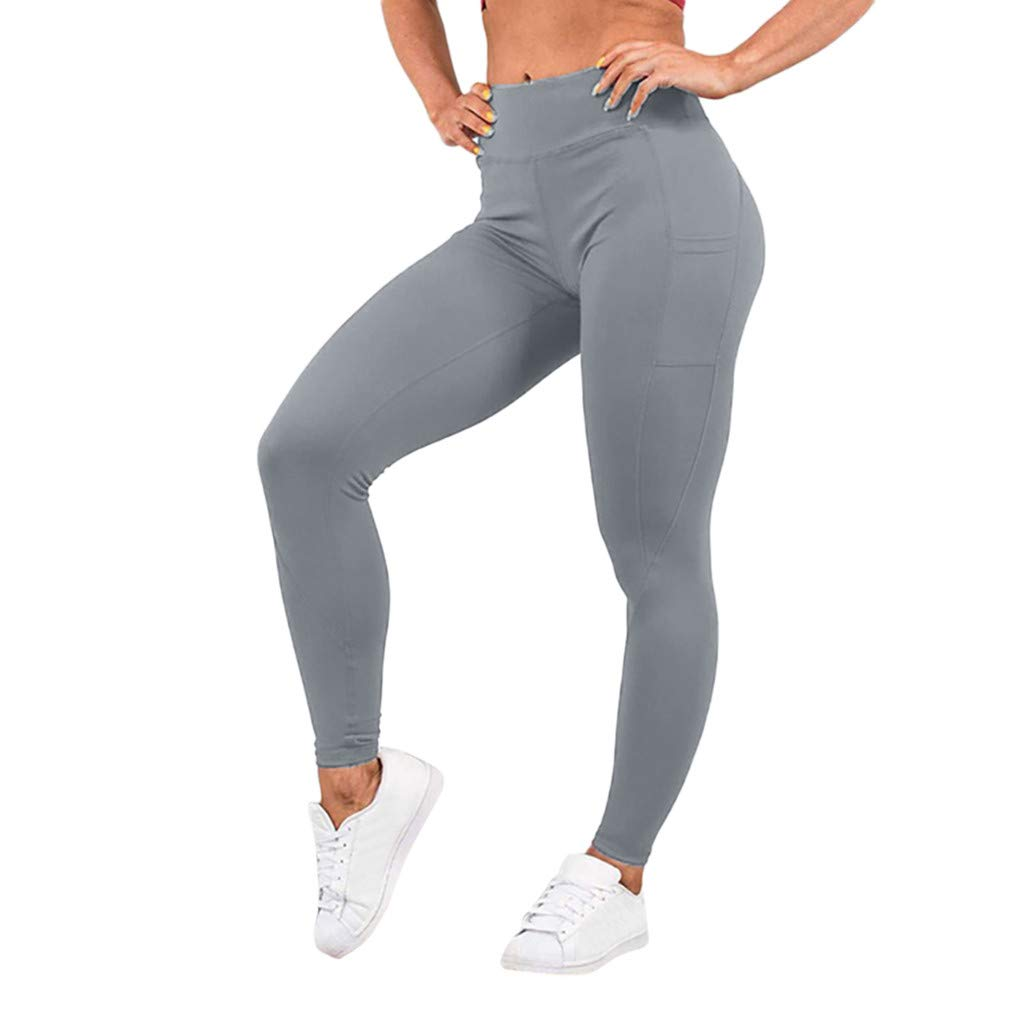 Pervobs Women's Elastic High Waist Workout Leggings Fitness Sports Gym Running Yoga Athletic Pants(S, Gray)
