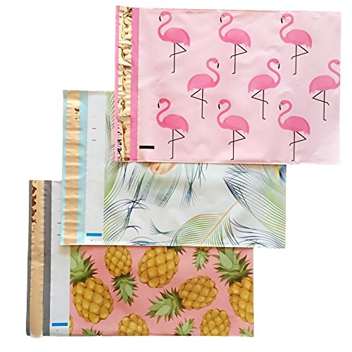 Designer Poly Mailers 10x13 Variety Pack Bundle: Flamingo, Pineapple, Peacock (30 piece set) - Boutique Shipping Supplies - Printed Mailing Envelopes Mailing And Shipping Supplies
