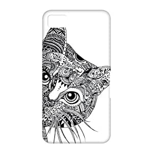 Canting_Good Black and White Aztec Cat Case Skin for Black Berry Z10 3D