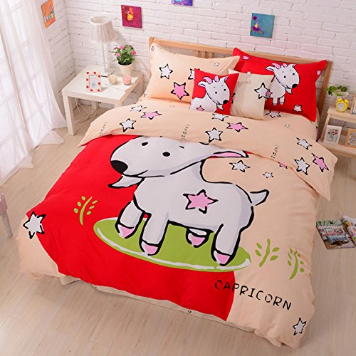 100% Cotton Cute Style Cartoon Bedding Set Twelve Constellation Printed Duvet Cover Set The Zodiac Duvet Cover Flat Sheet with Pillow Shame,No Comforter,Full Size (Capricorn,#5)