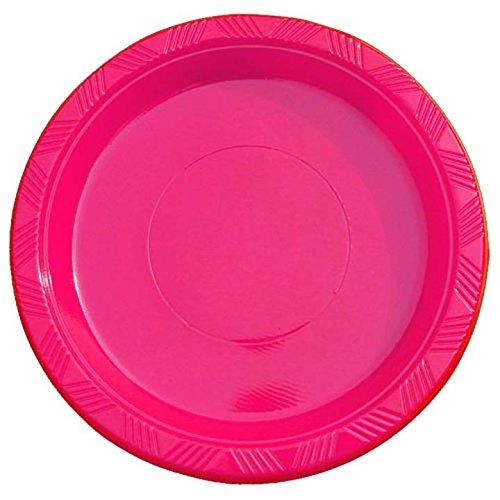 Exquisite 9 Inch. Cerise plastic plates - Solid Color Dispos