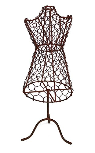 Colonial Tin Works 460088GR Decorative Vintage Style Mini Standing Dress Form Mannequin Jewelry Holder Display Stand Organizer Tree for Wedding Bridal Party Bridesmaid, Metal, Rustic, (Metal Dress Form)