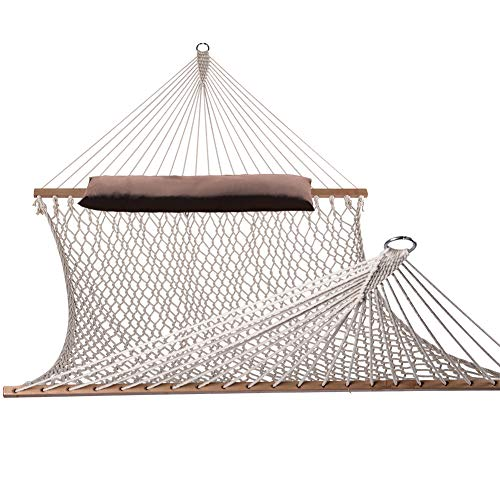 Lazy Daze Hammocks Cotton Rope Double Hammock with Pillow, Wood Spreader, Chains and Hooks, for Two Person, 450 Pounds Capacity, Natural