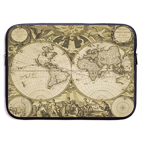Laptop Sleeve MacBook 13 Inch 15 Inch Tablet Carrying Case Cover Ancient 19th Century World Map Neoprene Compatible Notebook Computer Bag