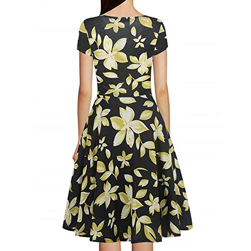 Casual Work Neck Cap Party Women's Summer Dress Necklines Cross Criss Dress Sleeve Yellow Floral V Stretch Swing fcfqH8p