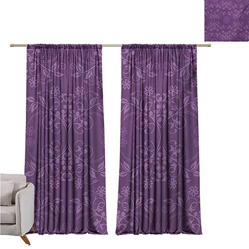 DESPKON-HOME Grommet Curtain for Bathroom,Eggplant Gorgeous Well-Formed Flowers on Purple Background Damask Floral Arrangement Ornament Pattern Darkening Curtains (72W x 72L inch,Violet)