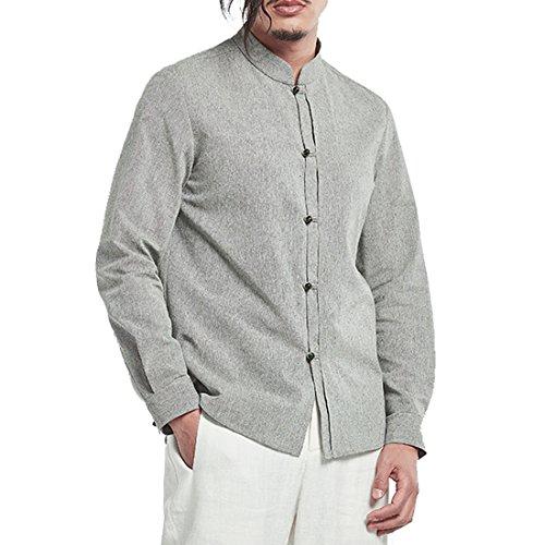 Kung Fu Smith Classic Tai Chi Vintage Frog Jade Buttons Shirt, Grey XL -