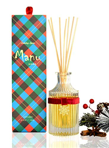 (Manu Home Sale Holiday Spice Reed Diffuser Set ~ Beautiful Glass with a Blend of Evergreen, Red Currant, and Juniper Berry~ Fragrance is Drawn from Pure Essential Oils of botanicals~ Made in USA!)