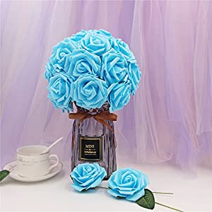 Noex Direct 30 PCS Artificial Flowr Rose Real Touch Artificial Roses for DIY Bouquets Wedding Party Baby Shower Home Decor - Blue 4