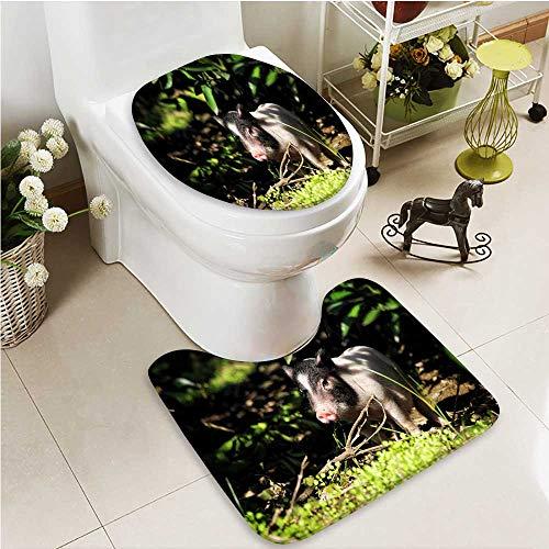 - Printsonne 2 Piece Bathroom Contour Rugs Bama miniature pigs Non Slip Comfortable Snd Soft
