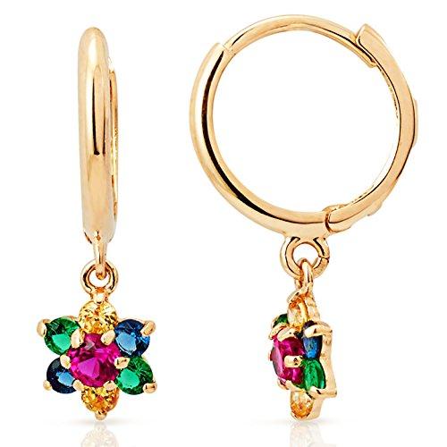 Flower Gold Earrings Yellow - Multicolored CZ Flower Dangling Earrings in 14K Yellow Gold