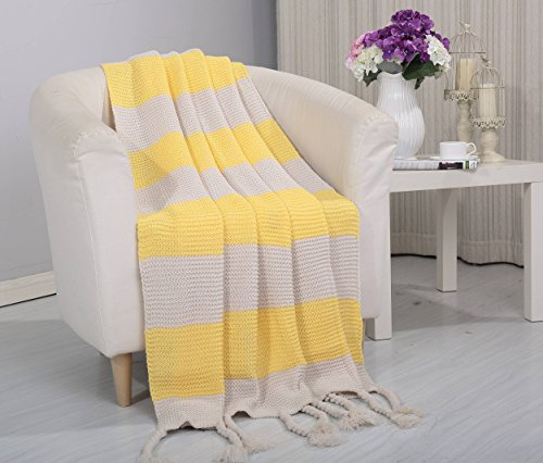 Soft Touch Classic Woven Knitted 2-Tone Throw Blanket with Fringes (50