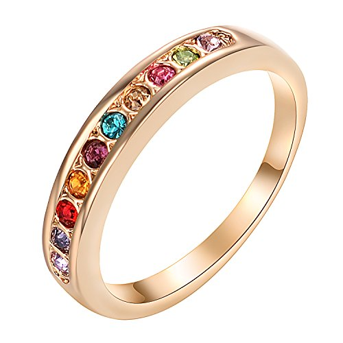 Gold Plated Colorful Crystal (Yoursfs Eternity ring for Women Crystal 18k White/Rose Gold Plated Bridal Promise Ring (Colorful, 7))