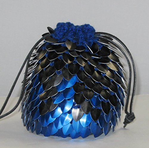 Knitted Dragonhide Dice Bag of Holding - Blue Fire by Crystal's Idyll