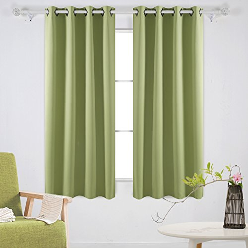 Deconovo Room Darkening Panels Thermal Blackout Curtains Grommet Insulated Curtains for Dining Room 52W x 63L Inch Nile Green Set of 2 (Thermal Curtain Panel)
