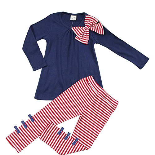 (Little Girls Cute Long Sleeve Top & Pant Clothes Set Navy(bow) 5-6 Years)