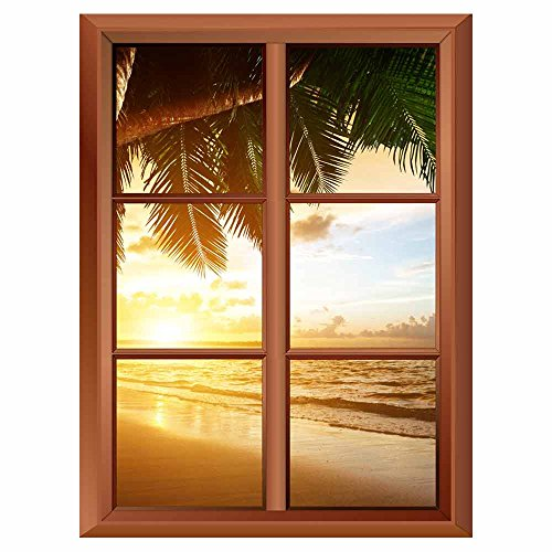 Removable Wall Sticker Wall Mural Palm Tree and Tropical Beach Creative Window View Vinyl Sticker