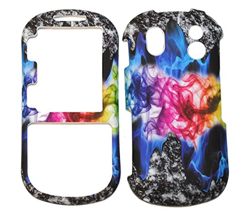 - Rainbow Abstract Smoke Design Rubberized Snap on Hard Protective Cover Case for Samsung Intensity 2 U460