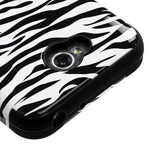 Asmyna TUFF Hybrid Phone Cover for LG Optimus Exceed 2/Optimus L70 - Retail Packaging - Zebra (Lg L70 Optimus Black Cases)