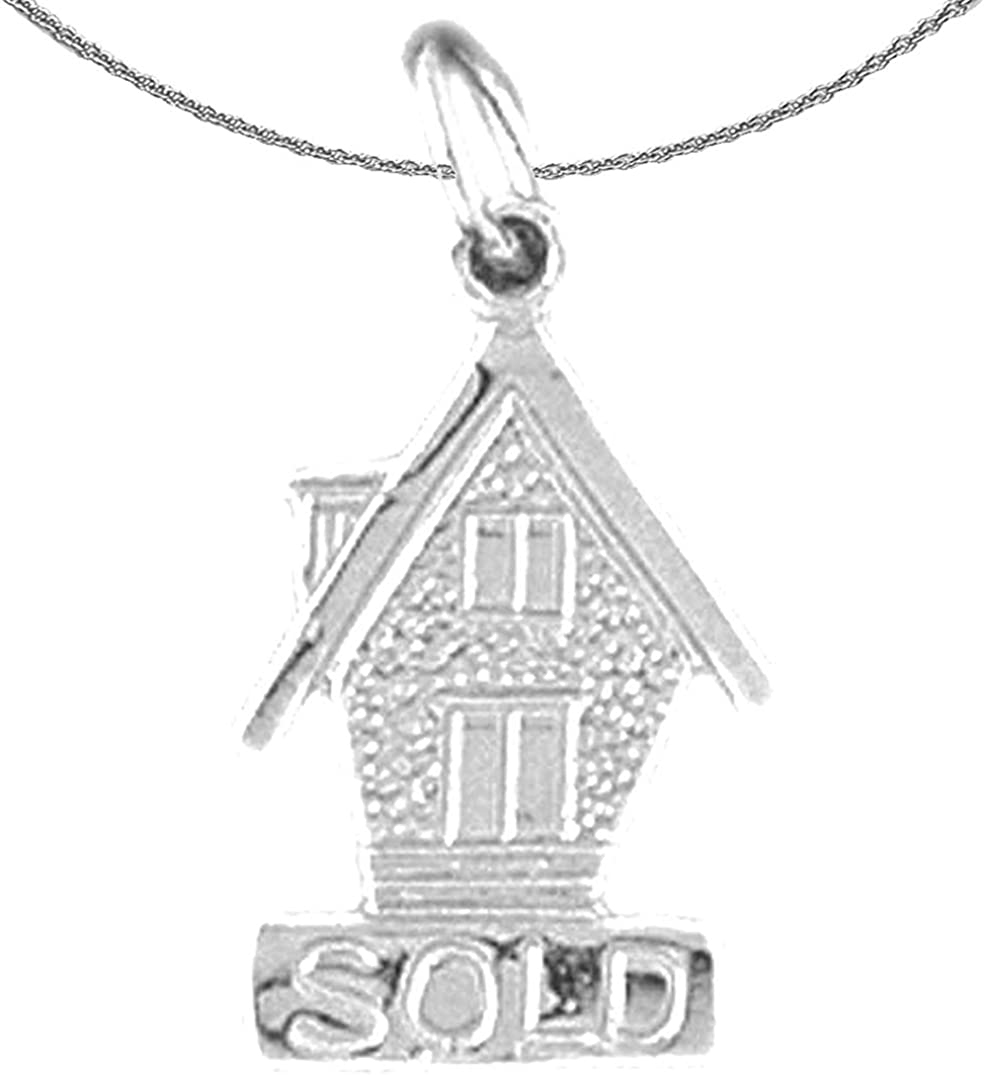 Rhodium-plated 925 Silver Sold House Pendant with 18 Necklace Jewels Obsession Silver Sold House Necklace