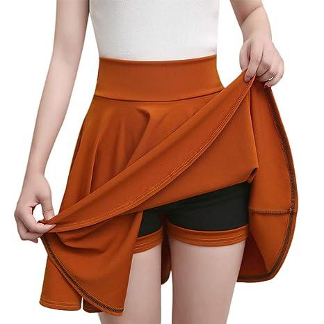 HEHEAB Falda,Orange Faldas De Cintura Alta Moda Mujer Color Sólido ...