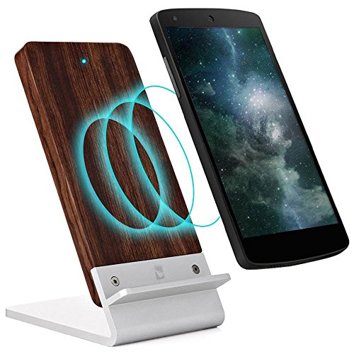 Wood Wireless Charger Stand for BlackBerry Priv STV100-1, [NEW] COOPER ECOSTAND Fast Charge Qi Wireless Charging Stand Dock Station Pad Mat Wooden Holder Plate Battery Case (Rosewood)