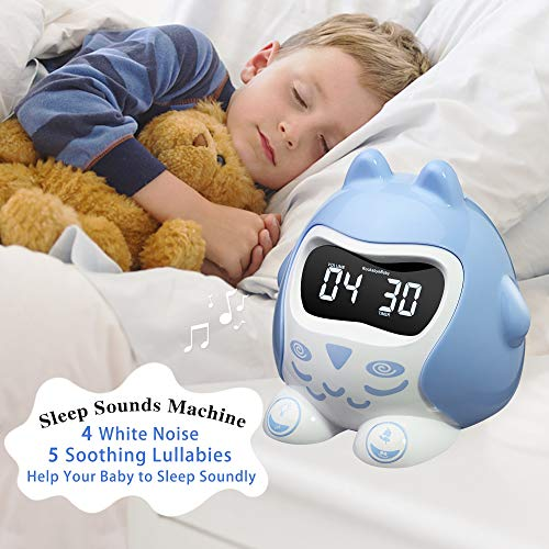 ROCAM Battery Operated Kids Alarm Clock for Bedrooms Children with Music and Color Changing Night Light Bedside Clock for Boys, Sleep Sounds Machine with 5 Level Dimmer and Snoozing ()