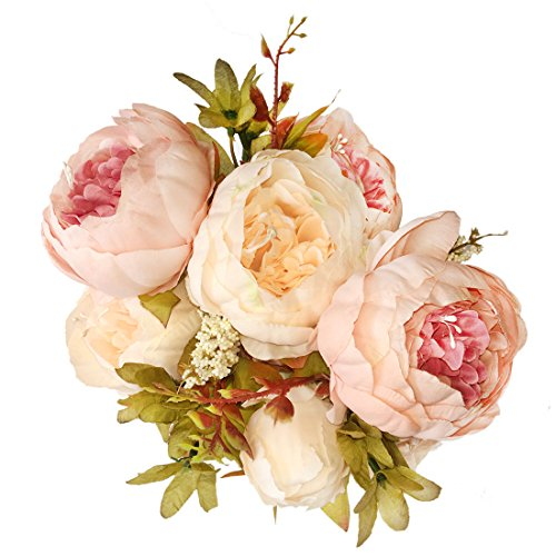 Bringsine Vintage Artificial Peony Silk Flowers Bridal Bouquet Home Wedding Decoration Flowers Bunch Hotel Party Garden Floral Decor (Flowers Peony Wedding)
