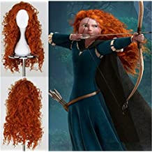 Worldflying®pretty Popular Brave Merida New Long Orange Curly Cosplay Party Wig Orange Wig
