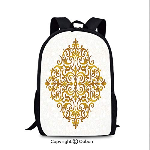 Soft Comfortable Backpack, Victorian Style Traditional Filigree Inspired Royal Oriental Classic Print, School Bag :Suitable for Men and Women, School, Travel, Daily use, etc.Gold White