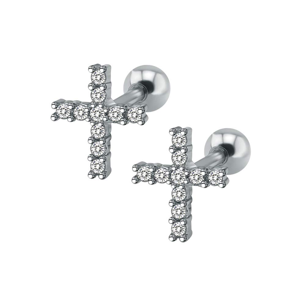 Chryssa youree 16G 316L Surgical Steel Labret Tiny CZ Flower Lip Studs Piercing Helix Cartilage Conch Tragus Lobes Studs Hypoallergenic Earrings for Women Girls 1 pair ED-208