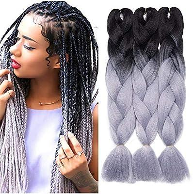 Extension Pour Tresse Africaine 24 60cm 300g Lot De 3 Crochet Braids Twist Box Noir A Gris Argente Amazon Fr Beaute Et Parfum