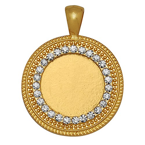 10PCS Zinc Alloy Cameo Cabochon Base Setting Pendants with Rhinestones,fit 20mm round cabochons, 18k gold