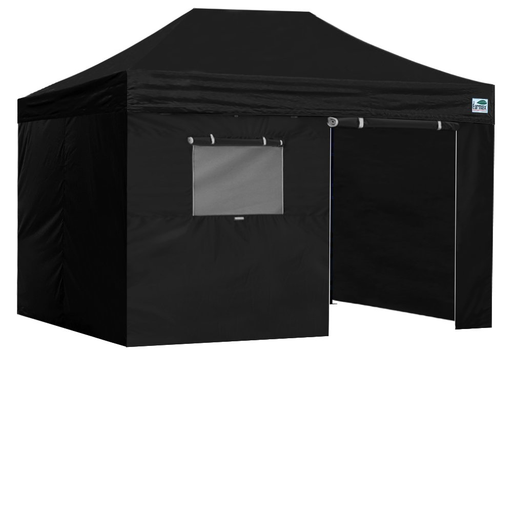 Eurmax PRO EZ Pop UpキャノピーテントCommercialキャノピーGazebo with Full壁&ローラーバッグ、すべてのcolor|sizes 10 X 15 Feet ブラック B00EPZCU5E 10 X 15 Feet|ブラック ブラック 10 X 15 Feet