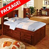 TWO Discovery World Furniture Merlot Twin Bookcase Captains Beds with 6 drawers for each bed and ONE (1) free Desk and ONE (1) free Hutch