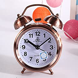 Classic Retro Vintage Silent Night LED Light Bell Alarm Clock Quartz Movement Home Lazy Bedside Desk Clock Great Christmas Gift for Students