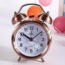 Zehui Bell Alarm Classic Retro Vintage Silent Night LED Light Bell Alarm Clock Quartz Movement Home Lazy Bedside Desk Clock Great Christmas Gift for Students 125x89x48mm Antique-brass Color