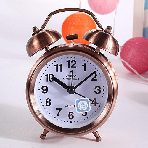 Classic Retro Vintage Silent Night LED Light Bell Alarm Clock Quartz Movement Home Lazy Bedside Desk Clock Great Christmas Gift for Students