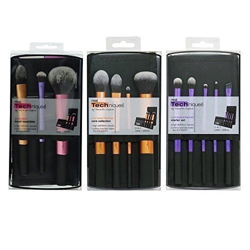 - Real Techniques Starter, Core & Travel sets each come with a Case and a Stippling Brush-Total 13 Brushes