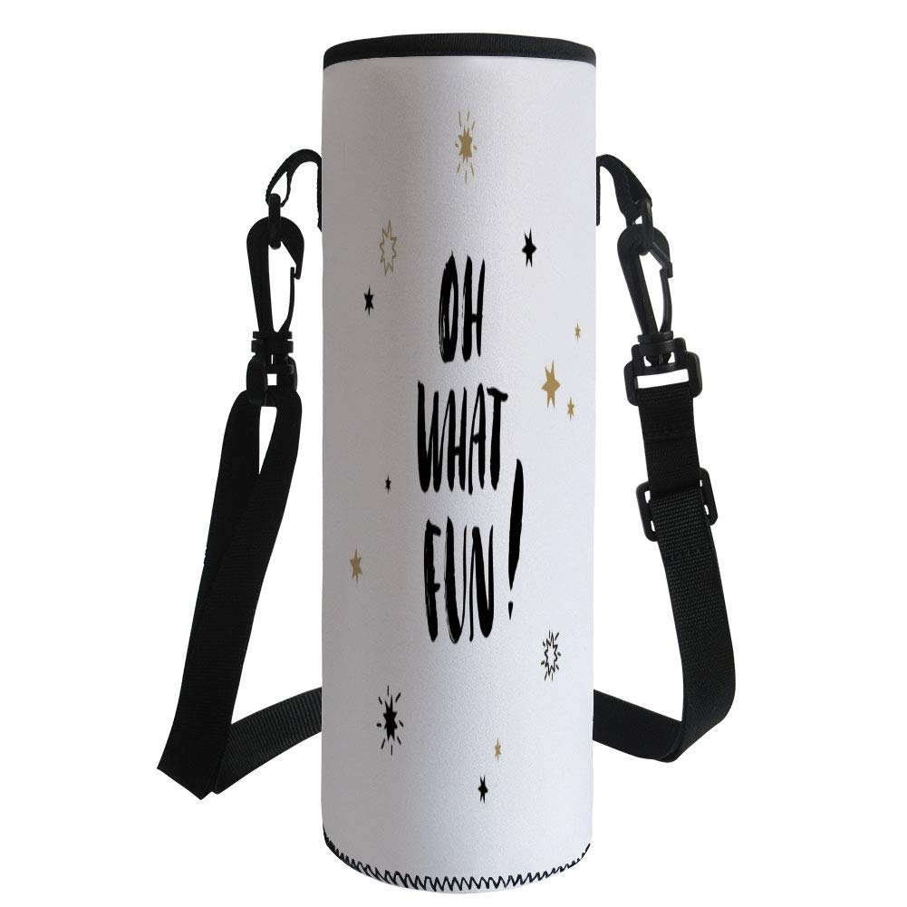 Water Bottle Sleeve Neoprene Bottle Cover,Inspirational,Oh What Fun Typography with Star Shapes Celebration Party Themed Print,Light Brown Black,Fit for Most of Water Bottles