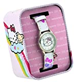 Hello Kitty #HK2170 Girl's White Leather Like Band White Dial Watch