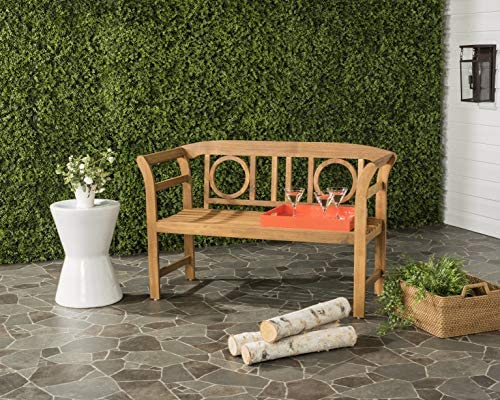 Safavieh PAT6743A Outdoor Collection Moorpark 2 Seat Bench, Natural