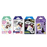 fujifilm instax mini film comic - Fujifilm Instax Mini Film 4 Pack Bundle! Disney Alice, Comic, Airmail, Stripe 10 X 4 = 40 Sheets Assort Set + Photo Frame Stickers 20 pcs