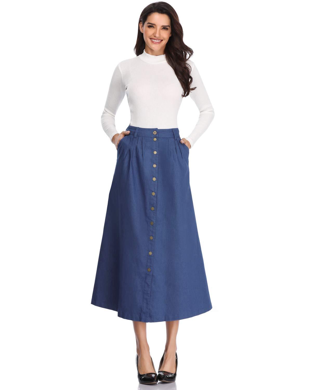 JOAUR Women's Slit Casual Skirts Button Front High Waist Maxi Skirt with Pockets (10, Deep Blue)