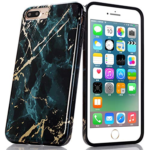 - BAISRKE Shiny Gold Emerald Green Marble Design Black Bumper Glossy TPU Soft Rubber Silicone Cover Phone Case Compatible withiPhone 7 Plus iPhone 8 Plus [5.5 inch]