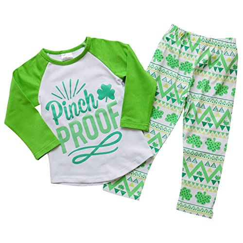 So Sydney Girls Pinch Proof Shamrock St. Patrick's Day 2 Pc Boutique Outfit (S (3T)) (St Patricks Outfit)
