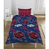 Childrens/Kids Boys Spiderman Duvet/Quilt Cover Bedding Set (Twin Bed) (Blue/Red)