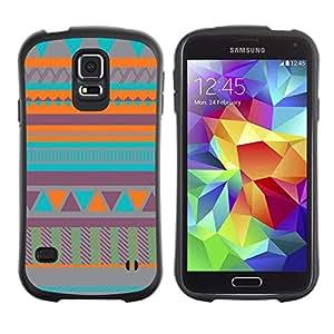 Suave TPU GEL Carcasa Funda Silicona Blando Estuche Caso de protección (para) Samsung Galaxy S5 / CECELL Phone case / / Art Native American Quilted Teal /